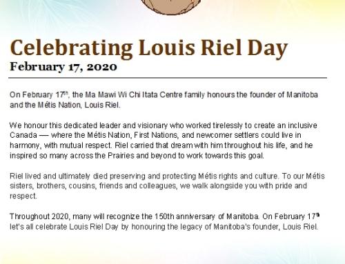 Louis Riel Day Message